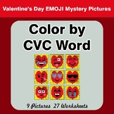 Color by CVC Word - Valentine's Day Emoji Mystery Pictures