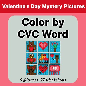 Color by CVC Word - Valentine's Day Mystery Pictures