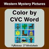 Color by CVC Word - Western Mystery Pictures
