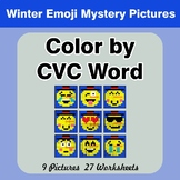 Color by CVC Word - Winter Snowman Emoji Mystery Pictures