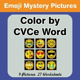 Color by CVCe Word - Emoji Mystery Pictures