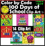 Color by Code 100 Days of School ClipArt Digital Images Clip Arts