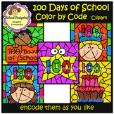Color by Code - 100 Days of School - Clip Art (School Designhcf)