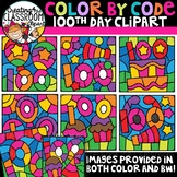 Color by Code 100th Day Clipart {Color by Code Clipart}