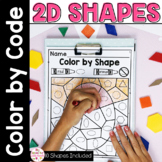 Color by Code 2D Flat Shapes Activty and Worksheets