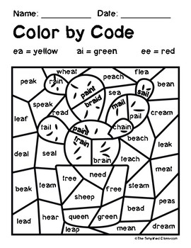 Color by Code Activities - Cactus / Cacti - Vowel Teams