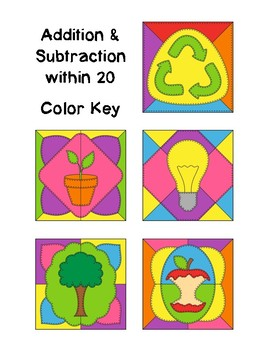 Color by Code Activities - Earth Day - Addition and Subtraction within 20