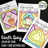 Color by Code Activities - Earth Day - Addition and Subtra