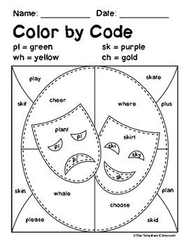 Color by Code Activities - Mardi Gras - Blends and Digraphs