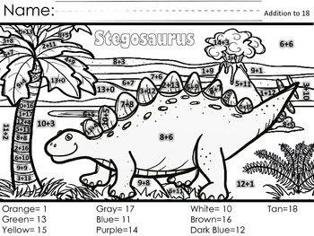 Color by Code - Addition 0-10 and 10-19 - Dinosaurs