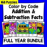 FULL YEAR Color by Code Addition & Subtraction COMPLETE BUNDLE