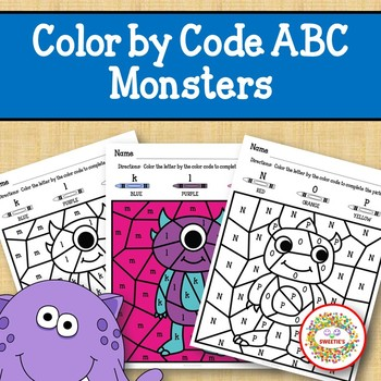 Color by Code Alphabet Monsters
