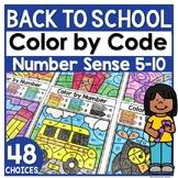 School Coloring Worksheets   Number Sense 5-10   Color by