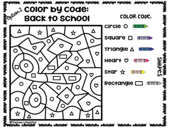Color by Code - Back to School Theme