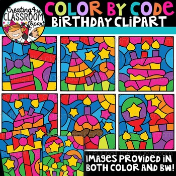 Color by Code Birthday Clipart {Color by Code Clipart}