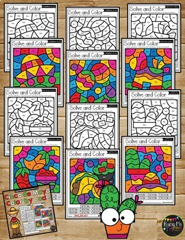 Color by Code CINCO DE MAYO Math Activities {Addition & Subtraction to 10}