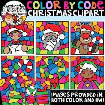 Color by Code Christmas Clipart {Color by Code Clipart}