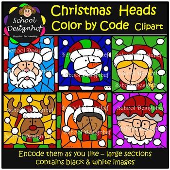 Color by Code - Christmas heads - Santa - Reindeer - Clip Art (School Designhcf)