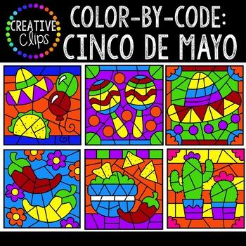 Color by Code: Cinco De Mayo Clipart {Creative Clips Clipart}