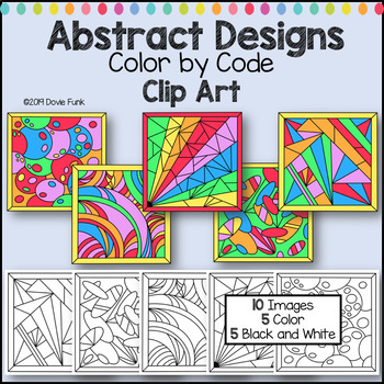 Color by Code Clip Art Abstract Designs Set 1