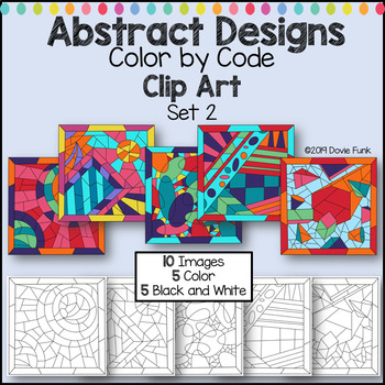 Color by Code Clip Art Abstract Designs Set 2
