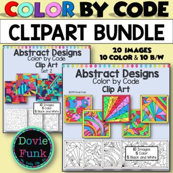 Color by Code Clip Art Bundle Abstract Designs