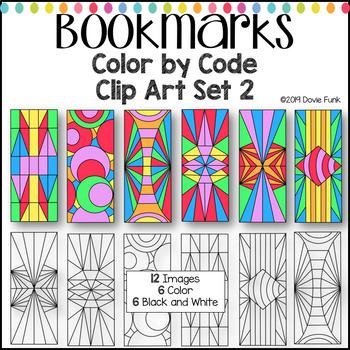 Color by Code Clip Art Designs Bookmarks Set 2