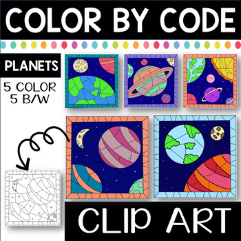 Color by Code Clip Art Planets