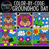Color by Code Clipart: Groundhog Day Clipart {Color by Number}