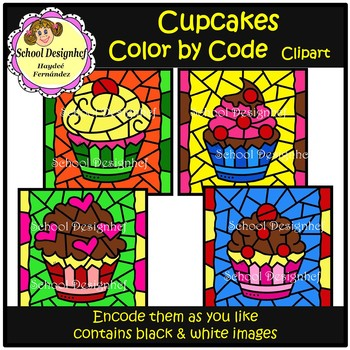 Color by Code - Cupcakes - Clip Art (School Designhcf)