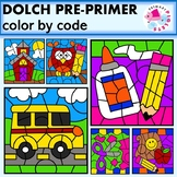 Color by Code Dolch Pre-Primer Sight Words School Themed Set