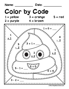 Color by Code - Emojis - Addition and Subtraction within 5