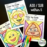 Color by Code Activities - Emoji / Emojis - Addition and S