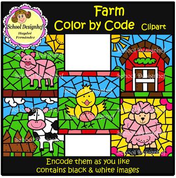 Color by Code - Farm - Animals - Clip Art (School Designhcf)