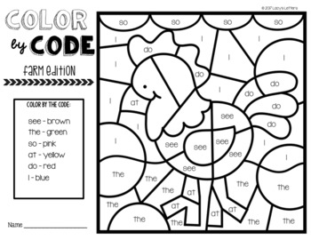 Color by Code Farm Edition: Sight Words