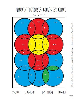 Color by Code Flower Addition Sums 7-10