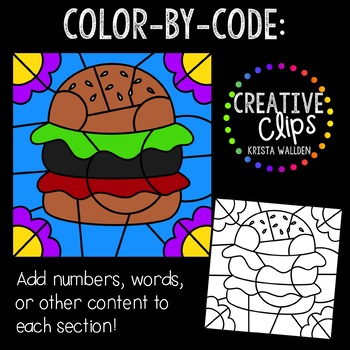 Color by Code: Food Clipart {Creative Clips Clipart}