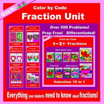 Valentine Color by Code:  Fraction Unit