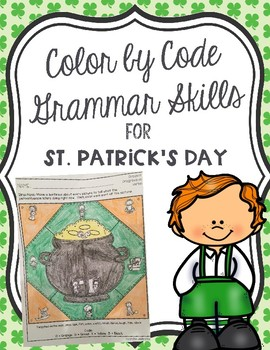 Color by Code Grammar Skills for St. Patrick's Day