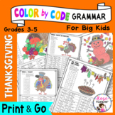 Color by Code Grammar - Thanksgiving