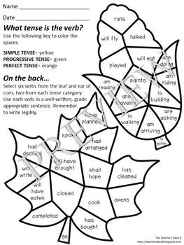 Color by Code Grammar Verb Tenses