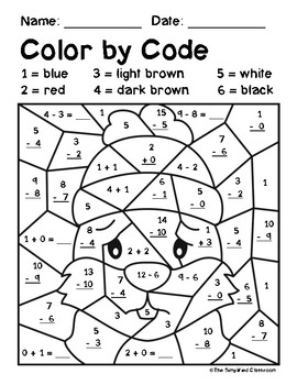 Color by Code Activities - Groundhog Day - Addition / Subtraction within 15