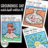Color by Code Activities - Groundhog Day - Addition / Subt