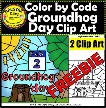 Color by Code Groundhog Day Clipart  Digital Images Clip Arts FREEBIE
