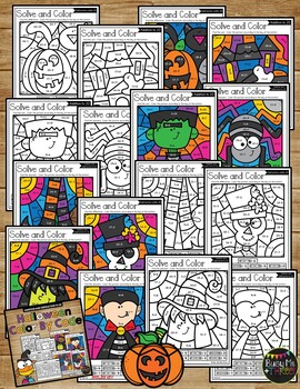 Color by Code Halloween Activities {Addition and Subtraction to 20}