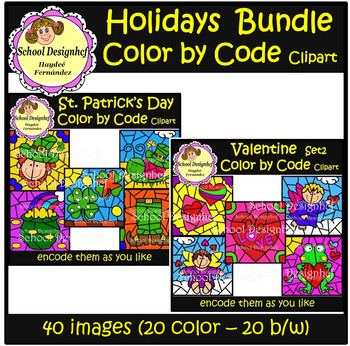 Color by Code - Holidays Bundle1 - Easter/St.Patrick/Valentine(School Designhcf)