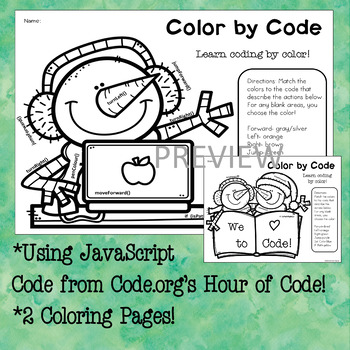 Color By Code Hour Of Code Javascript Coloring Activity Tpt