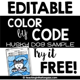 EDITABLE Color by Code Husky Sled Dog