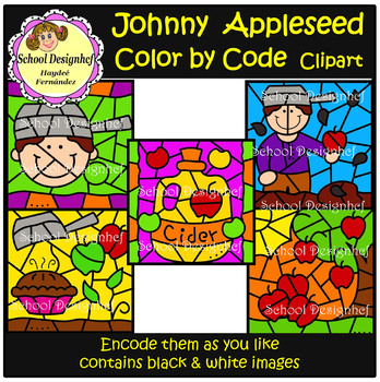 Color by Code - Johnny Appleseed - Clip Art (School Designhcf)