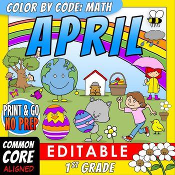 Color by Code: Math – APRIL – 1st Grade - Common Core Aligned